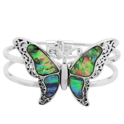 Bangles Bangle Shell (KuierShop(TM) Butterfly Bracelet Double Metal Bar Hinge Bangle SILVER Abalone Shell Filigree)