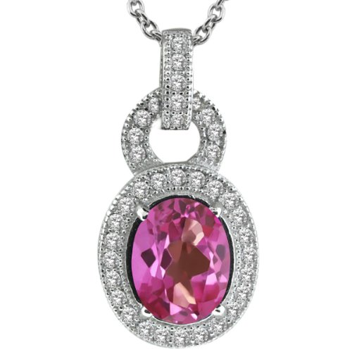 3.07 Ct Oval Pink Mystic Topaz 925 Sterling Silver Pendant