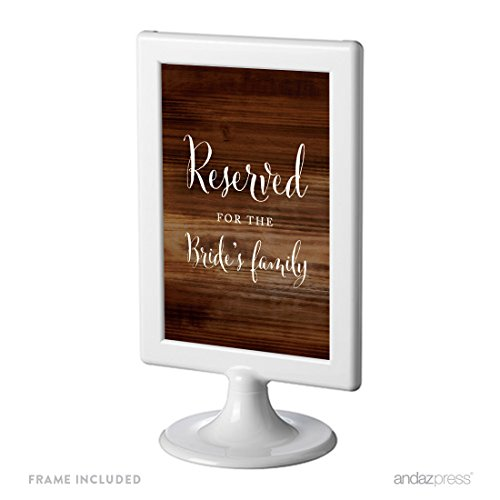Andaz Press Framed Wedding Party Signs, Rustic Wood Print, 4x6-inch, Reserved for the Bride's Family, 1-Pack, Includes -