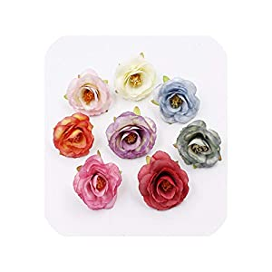 END GAME 10pcs 5cm Silk Rose Bud Artificial Flower Wedding Furniture DIY Wreath Handicraft Fake Flower 28