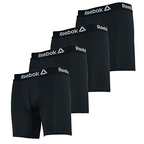 Reebok Men's Performance Boxer Briefs 4-Pack Black Grey M