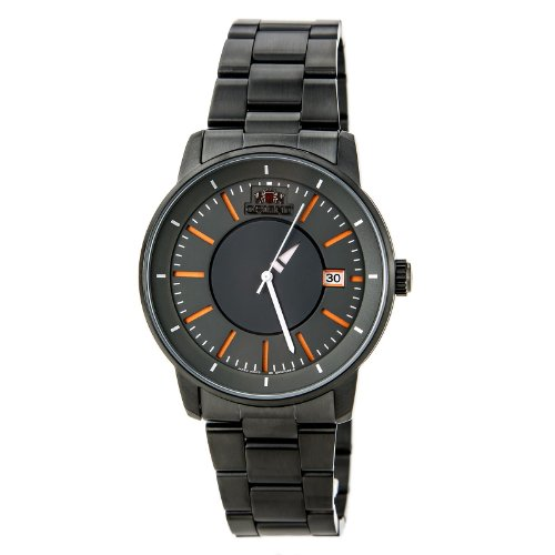- Orient Black IP 21-Jewel Automatic Watch with Unique Rotating Disk Hour Hand ER02006A