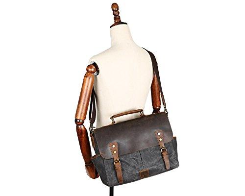 Scsy Hombres Mensajero Aceite bags Bolsa Los Maletín Impermeable Cera Portátil Chrome Classico Loco Cuero Retro Lona Bandolera De rAfrwqIzY