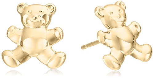 14k Italian Yellow Gold Teddy Bear Stud (14k Gold Fashion Bear)