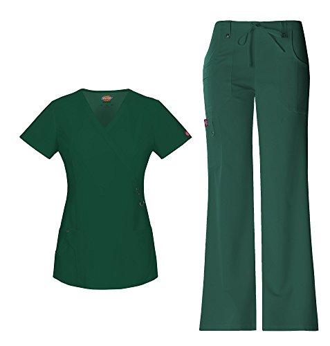 Dickies Xtreme Stretch Women's Mock Wrap Scrub Top 85956 & Drawstring Scrub Pant 82011 Scrub Set