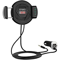 Criacr Bluetooth FM Transmitter, Wireless Audio Recevier, Car Kit with Phone Holder Radio Adapter, USB Car Charger With Fast Charging Port, AUX Input for iPhone, Samsung & Smartphone (3 IN 1)