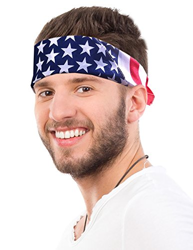 American Flag Bandana Headband USA Bandana USA Apparel USA Clothing Bandana]()