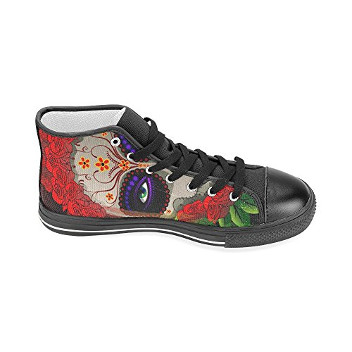 D-story Custom Day Of The Dead Skull Uomo Classico High Top Scarpe Di Tela Sneaker Di Moda