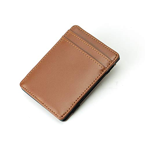 Magic Wallet - Magical Flip, for Men Women Kids - Genuine Leather Thin Wallet (Brown)