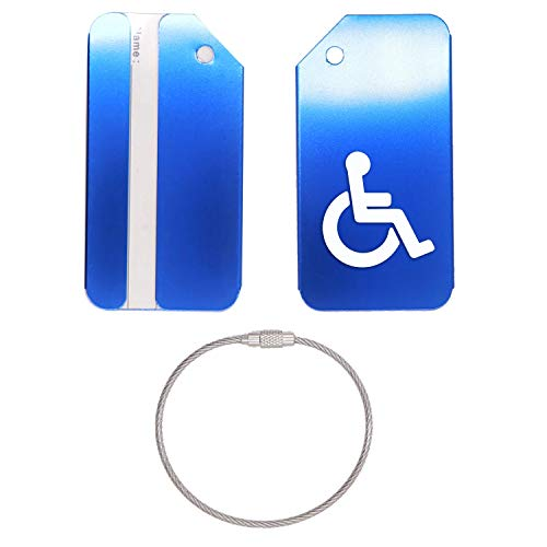 HANDICAP SYMBOL SILHOUETTE STAINLESS STEEL - ENGRAVED LUGGAGE TAG - SET OF 2 (ROYAL BLUE) - FOR ANY TYPE OF LUGGAGE, SUITCASES, GYM BAGS, BRIEFCASES, GOLF BAGS