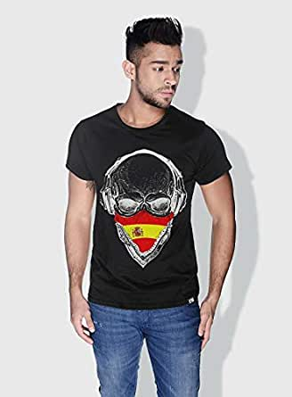 Creo Spain Skull T-Shirts For Men - L, Black