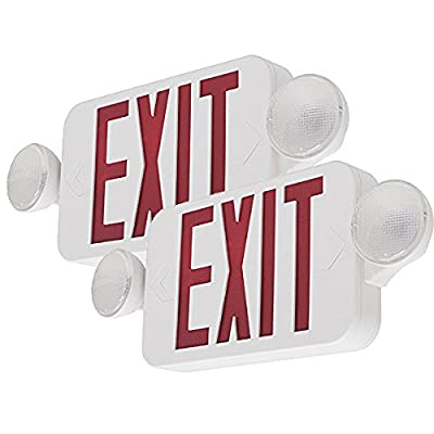 LFI Lights - 2 Pack- Hardwired Red Compact Combo Exit Sign Emergency Egress Light - COMBORJRx2