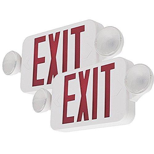 (LFI Lights - 2 Pack - UL Certified - Hardwired Red Standard Compact Combo Exit Sign Emergency Egress Light - COMBORJRx2)