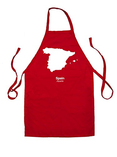 Dressdown Spain Silhouette - Kids Unisex Fit Apron - Red - 7-10 Years by Dressdown