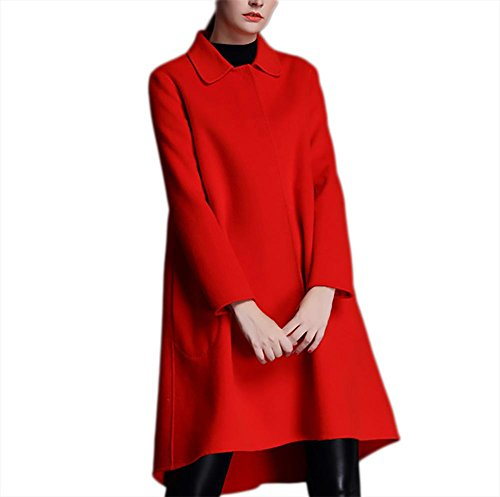 Risvolto Red Abiti Lunghi Double Inverno Ispessimento Outwear Hem M Giacca Rosso Cappotto In Autunno Nero Xl Casual Verde Big S A Lana sided L Vento Donna Cashmere wpOFT