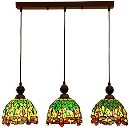 Makenier Vintage Tiffany Style Stained Glass 3-Light Dragonfly Lampshade Dining Room Bar Pendant Lamp, 7 Inches Lampshade