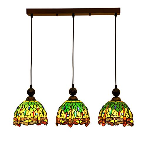 (Makenier Vintage Tiffany Style Stained Glass 3-Light Dragonfly Lampshade Dining Room Bar Pendant Lamp, 7 Inches Lampshade)