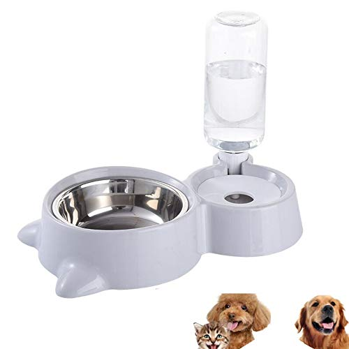 HappyCat Small Pets Water and Food Bowl Set, Dogs Cats Feeder Bowl and Automatic Water Dispenser Double Pet Bowls with Automatic Waterer Bottle for Small or Medium Size Dogs Cats -