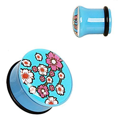 Freedom Fashion Blue UV Acrylic Oriental Flower Blossom Single Flare Plug with O-Ring Fake (Sold by Piece) (5/8