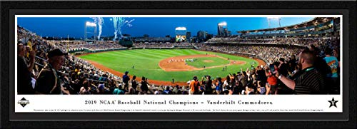 World Series Panoramic Photo - Vanderbilt, 2019 College World Series Champions - 42x15.5-inch Single Mat, Select Framed Picture by Blakeway Panoramas