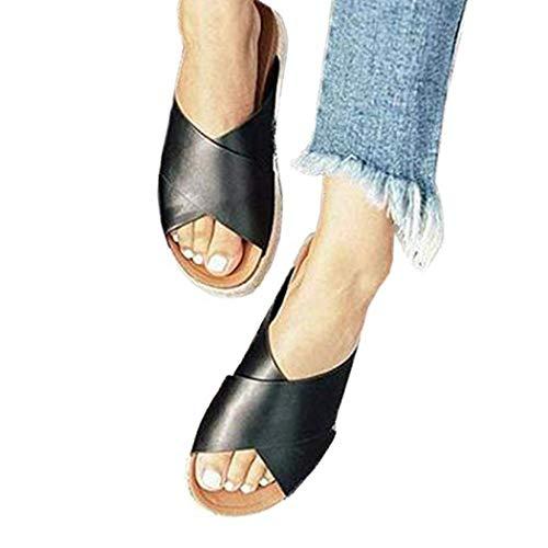 - Womens Espadrilles Sandals,Casual Criss Cross Slide-on Open Toe Leather Studded Platform Sandals Summer Slippers Flatform Sandal (Black,6.5 M US=EU 37)