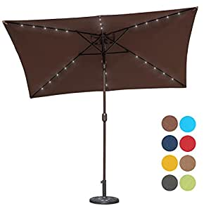 Sundale Outdoor Rectangular Solar Powered 26 LED Lighted Patio Umbrella Table Market Umbrella with Crank and Push Button Tilt for Garden, Deck, Backyard, Pool, 6 Alu. Ribs, 9 by 6.5-Feet (Coffee)