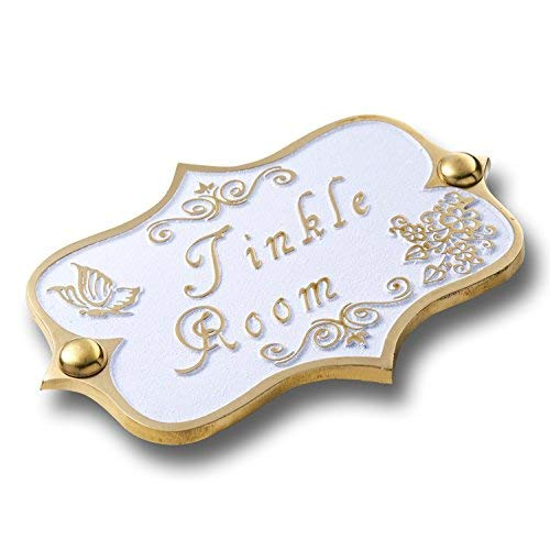 Tinkle Room Brass Bathroom Door Sign. Vintage Shabby Chic Style Home Décor Wall Plaque Handmade by The Metal Foundry UK.