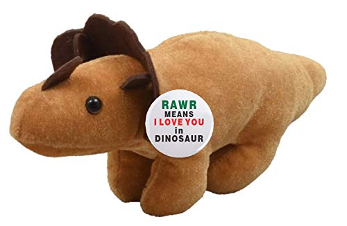 Love Pinback Button (A&T Designs RAWR Means I Love You in Dinosaur - Romantic Flirty Dino Stuffed Animal Plush Doll w/ Pinback Button (Valentine's Day, Birthday, Just Because Gift))