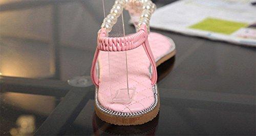 La Sra romanas sandalias de la perla del diamante sandalias de tiras planas mujeres voltean plana con estudiantes Pink