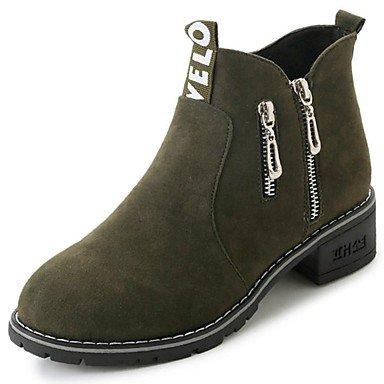 Cremallera Para US6 Botas Caída Talón CN36 Suede Zapatos Negro Ejército Verde EU36 Redonda Botas RTRY Casual Mujer La UK4 Plana De Moda Puntera De R4w6cqZ