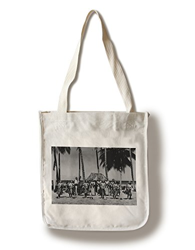 Lantern Press Hawaii - Line of Hula Girls Dancing Photograph (100% Cotton Tote Bag - Reusable) -