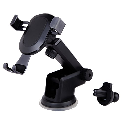 Phone Holder for Car Car Phone Mount with Gravity Sensor and Multifunction for iphone Galaxy Google LG Huawei and compatible to Most Smartphone(4-6in) (Black) (Aluminum Vacuum Vent)
