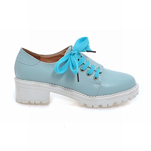 Lace Chunky Oxford Heels Latasa Womens up Chic Shoes Blue Light WqwnnRFSxH