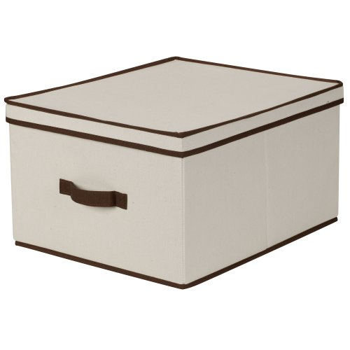 Household Essentials 515 Storage Box with Lid and Handle- Natural Beige Canvas with Brown Trim- Jumbo
