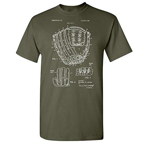 (Baseball Glove T-Shirt, Center Fielder, World Series, Little League, Baseball Mom Dad, Baseball Player, Softball Coach Military Green (Large))