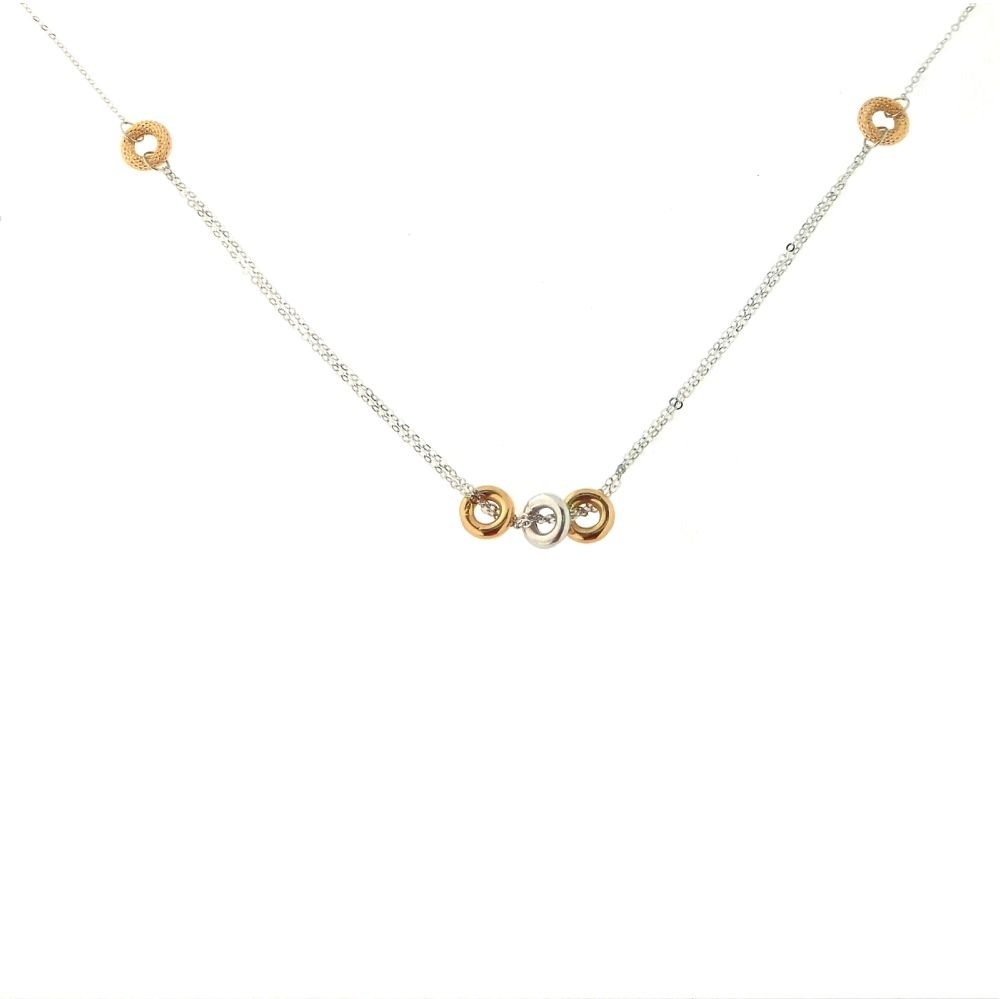 18kt White Gold Chain with Pink and White gold Circles Necklace 16 inches