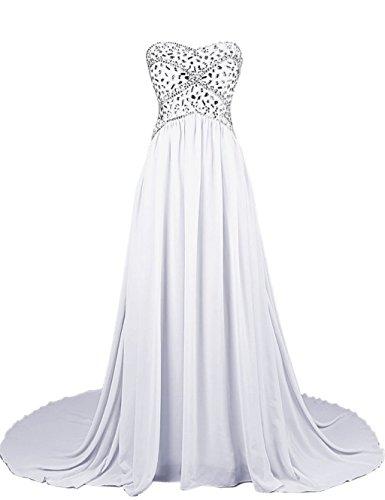 White 2016 Beaded Fanciest Strapless Abendkleider Kleider Kleider Formelle Mint Chiffon Ball Damen n7aqWqBA