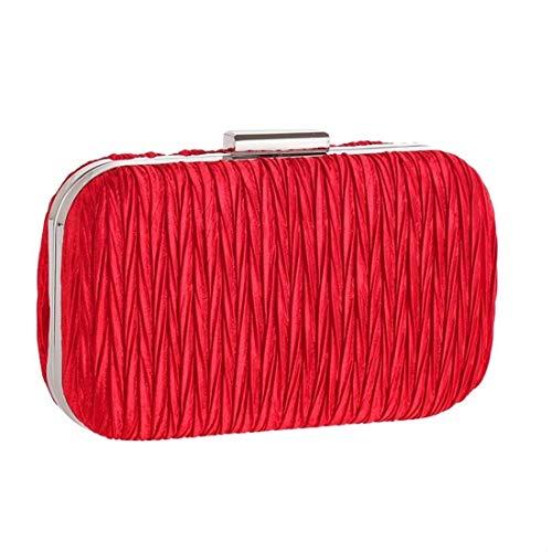 De Las Americano Femenino Moontang Embrague Y Rojo Señoras color Bolsa Duro Shell Simple Noche Plisadas Europeo 216 Bolso Rojo 8qwxA74w5