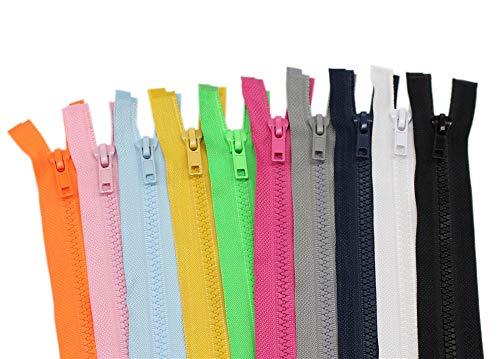 YaHoGa 10PCS 30 Inch (76cm) Separating Jacket Zippers for Sewing Coat Jacket Zipper Heavy Duty Plastic Zippers Bulk 10 Colors Mixed (1pcs per Color)