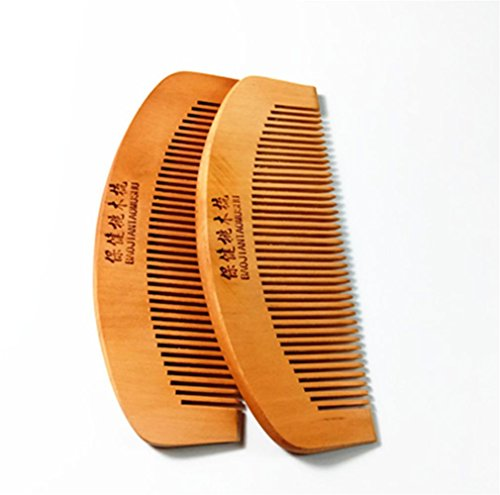 GuiXinWeiHeng (3pcs) Peach comb massage anti-static comb wood comb , 12cm by GuiXinWeiHeng