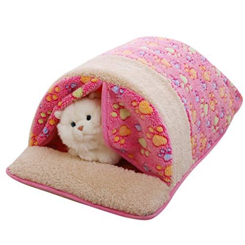 (Lljin Pet Dog Cat Mat, Detachable Pet Dog Cat Bed Nest Winter Sleeping Bag Warm Kennel Cat Puppy House (M:19.68 x 11.81 x 9.05inch, Pink))