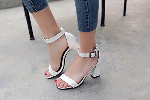 Sandalia Con Puntera Abierta Y Tacón Grueso Para Mujer De Pie Charm Foot White