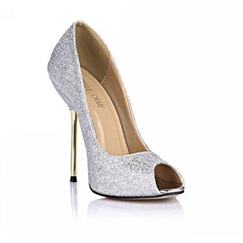 Alto A Chmile scarpe Argento Metallo glitter Da moda pompe Donna partito Spillo Toe Chau tacco sexy Material peep Tacco 0Yqn0FS