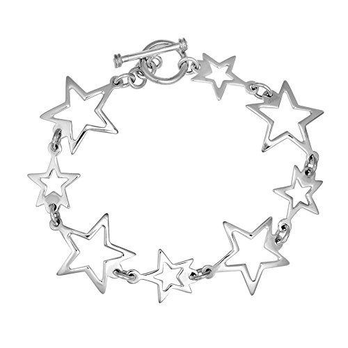 AeraVida Trendy Small-Large Star .925 Sterling Silver Toggle Link Bracelet ()