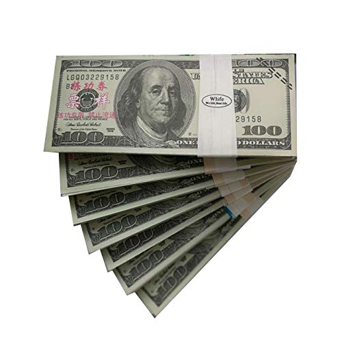 WLIFE Movie Prop Money $10000, Copy Money Full Print 2 Sided $100 Dollar Bills Stack,Play Money Fake Money That Looks Real,New Published Thickening for Movies,TV,Videos,Advertising,Training