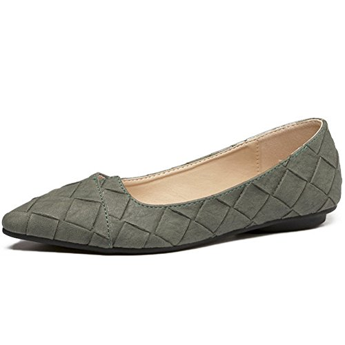 Ballet Flat Soft Slip Pointy Classic Shoes Comfort on Green Toe QZUnique Women's zIRqOO
