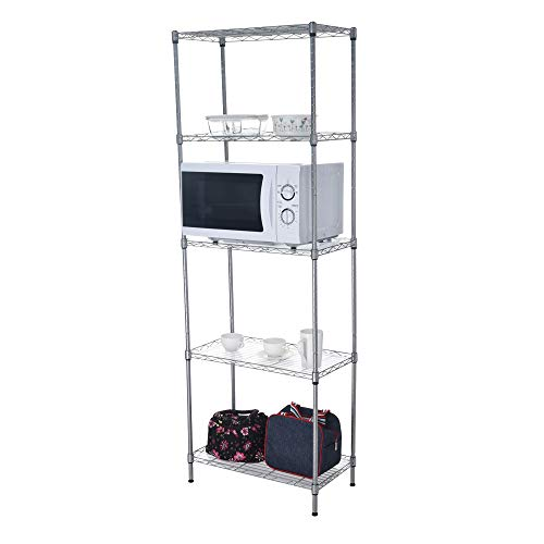 (Storage Rack 5-Layer 21.6x11.8x62.2 Inch Multipurpose Shelf Display Rack Adjustable Storage Shelves Heavy Duty Steel Tube Wire Shelving with 5 Hook+20 Clips Kitchen Home Office Bookcase (Silver) )