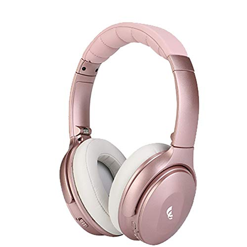 XINWU 801 Active Noise Cancelling Bluetooth Headphone w/Soft Protein Earmuff, High Stereo Surround Sound, Built-in Mic, Wired Mode, 20h Long Battery Life Fodable Lightweight Over Ear Design (Pink)