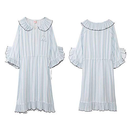 Corta Dulce Verano Especial Princesa Transpirable De Windy Damas Pijama Azul Estilo Camisón Vestido Confort Encaje Noche Manga ApxBwqP