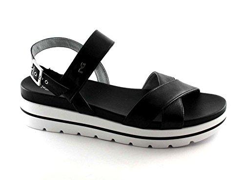Black Gardens 17801 Black Women Shoes Platform Sandals Leather Buckle Nero